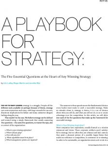 Icon of A PLAYBOOK FOR STRATEGY  The Five Essential Questions At The Heart Of Any Winning Strategy